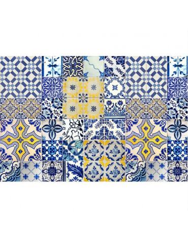 mosaiko Tapis de cuisine 50x140cm jaune/bleu mosaiko