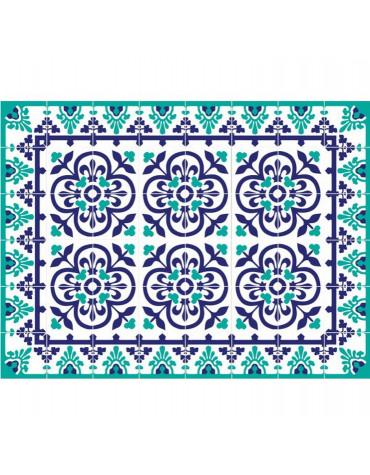 Tapis de cuisine 66x100cm bleu vert