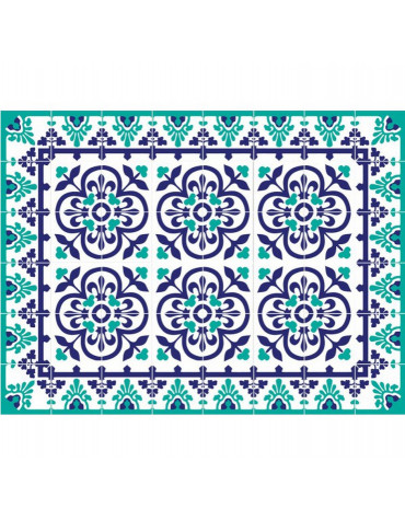 mosaiko Tapis de cuisine 66x100cm bleu vert mosaiko