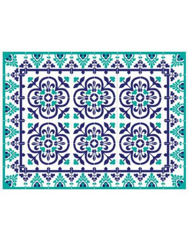 Tapis de cuisine 66x150cm bleu vert