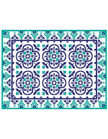mosaiko Tapis de cuisine 66x150cm bleu vert mosaiko