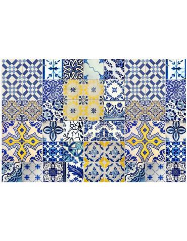 mosaiko Tapis de cuisine 66x180 cm jaune/bleu mosaiko