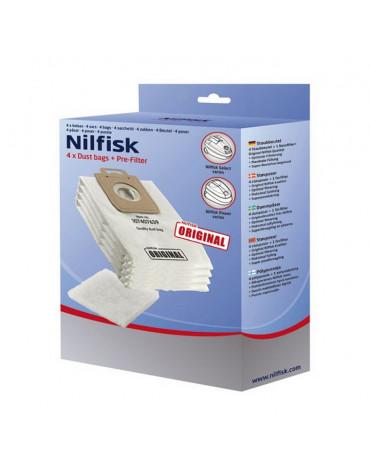 nilfisk Lot de 4 sacs + 1 pré-filtre pour aspirateur nilfisk