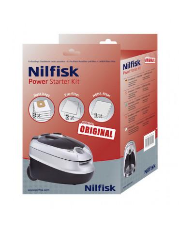 nilfisk Lot de 8 sacs + 2 pré-filtres + 1 filtre pour aspirateur power nilfisk