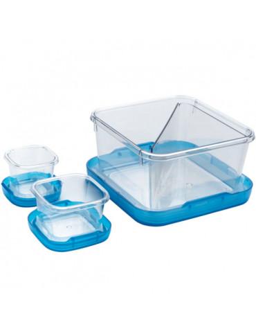 oxo Lot de 3 boîtes alimentaires 1,4l, 0.12l et 60ml sans bpa bleu oxo