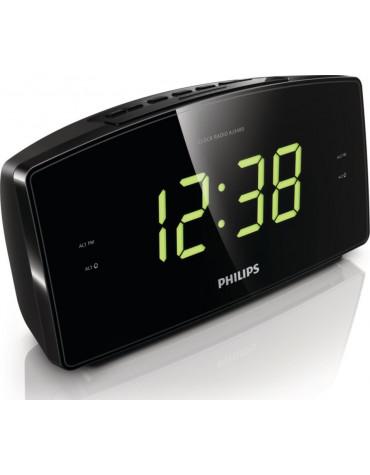 Radio-réveil double alarme noire