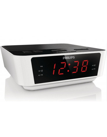 philips Radio réveil double alarme noir/blanc philips