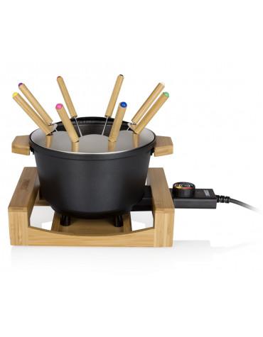 Fondue 800w 8 fourchettes bamboo et fonte d'alu noire
