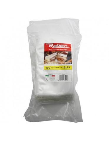 reber Lot de 100 sacs 15x25 pour appareil à emballage sous vide 9701n et 9700n reber