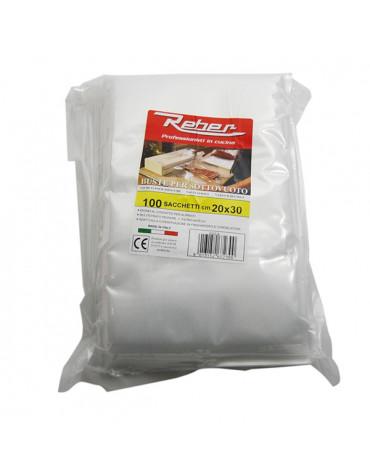 reber Lot de 100 sacs 20x30 pour appareil à emballage sous vide 9701n et 9700n reber