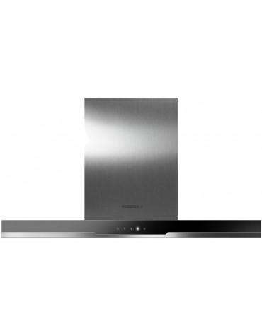 Hotte décorative 90cm 510m3/h inox verre noire