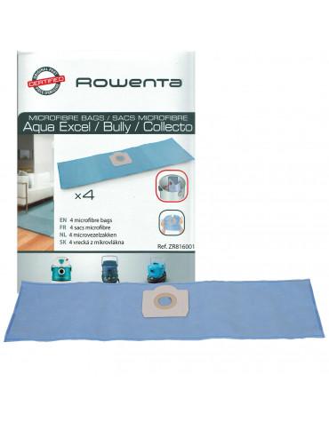 rowenta Lot de 4 sacs microfibre pour aspirateurs aqua excel, bully et collecto rowenta