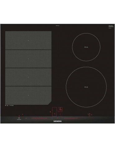 siemens Table de cuisson à induction 60cm 4 feux 7400w flexinduction noir siemens