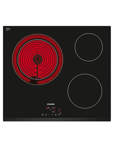 siemens Table de cuisson vitrocéramique 60cm 3 feux 5900w noir siemens