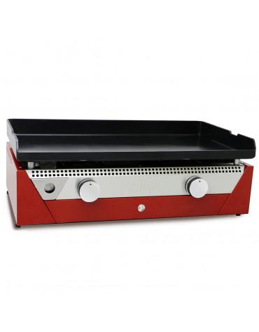 Plancha gaz 6600w acier laminée au charbon 71x41cm rouge