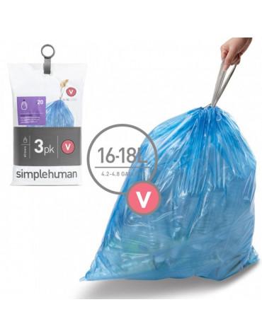 3 packs de 20 sacs poubelles de 16/18l