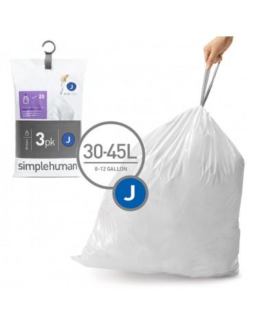 3 packs de 20 sacs poubelles de 30/45l