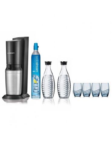 Machine à gazéifier l'eau du robinet + 2 carafes et 4 verres