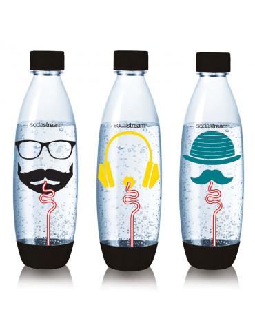 sodastream Pack de 3 bouteilles de 1l pour machines à gazéifier noir sodastream