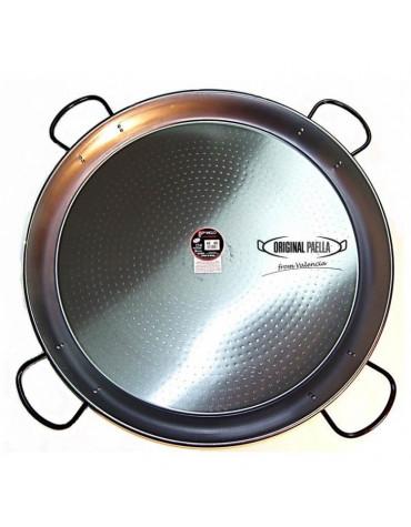 Plat à paella en acier poli 80cm pour 40 personnes
