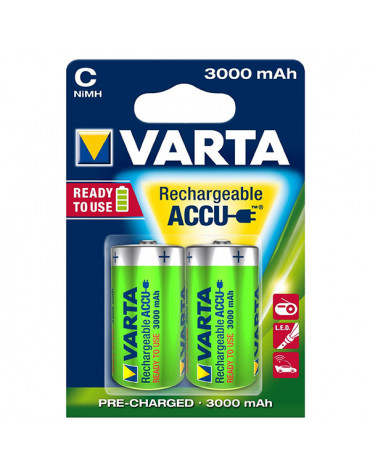 varta Lot de 2 piles alcaline type hr14 1.2 volts rechargeables varta