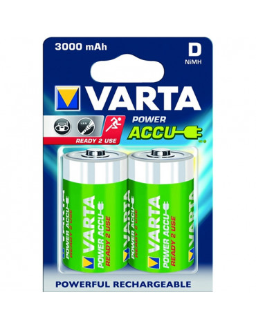 varta Lot de 2 piles alcaline type hr20 1.2 volts rechargeables varta