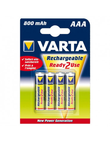 varta Lot de 4 piles alcaline type hr03 1.2 volts rechargeables varta