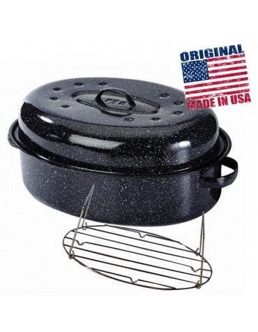 Cocotte ovale en acier carbon 38x26cm + grille