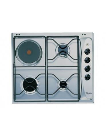 whirlpool Table de cuisson mixte gaz et électrique 60cm 4 feux inox whirlpool
