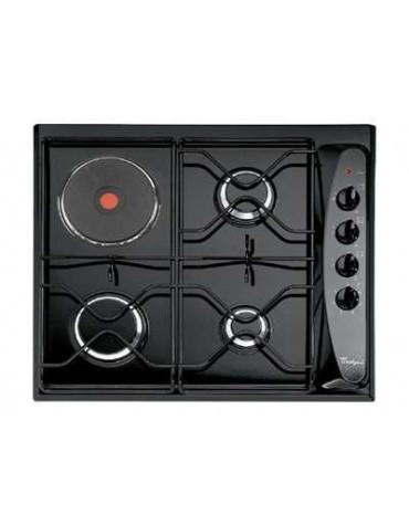whirlpool Table de cuisson mixte gaz et électrique 60cm 4 feux noir whirlpool