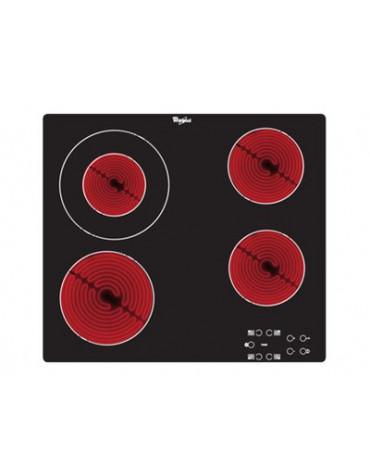 whirlpool Table de cuisson vitrocéramique 4 feux 6200w noir whirlpool