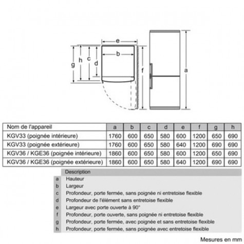 bosch Réfrigérateur combiné 60cm 309l a++ brassé blanc bosch