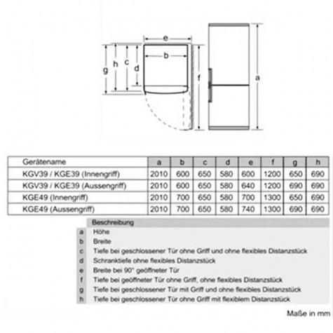 bosch Réfrigérateur combiné 60cm 344l a++ brassé blanc bosch
