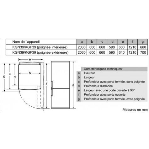 bosch Réfrigérateur combiné 60cm 366l a++ no frost blanc bosch