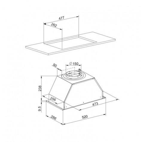 GLEM ghf650ix soubassement-Brume hotte en acier inoxydable 530m³//h 52 cm