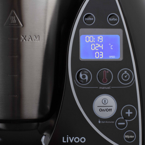 livoo Robot culinaire chauffant 3l 1500w noir livoo