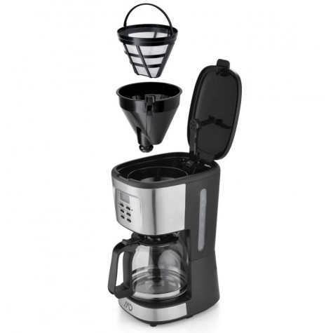 md homelectro Cafetière filtre programmable 12 tasses 900w inox/noir md homelectro