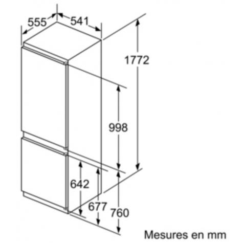 neff Réfrigérateur combiné 54cm 267l a++ low frost blanc neff