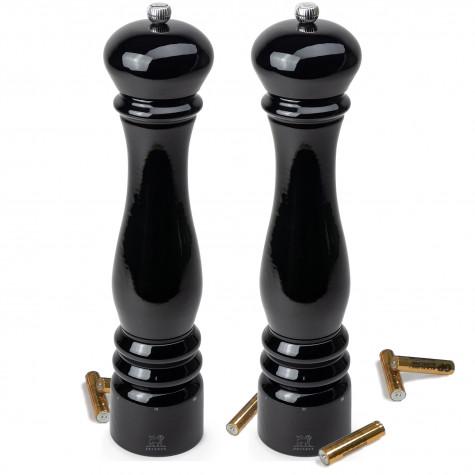 peugeot duo moulins électrique sel + poivre 34 cm laqué noir 36249 + 36256