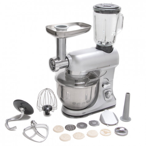 robby Robot multifonctions 5l 1000w silver avec hachoir et blender 1,5l en verre robby