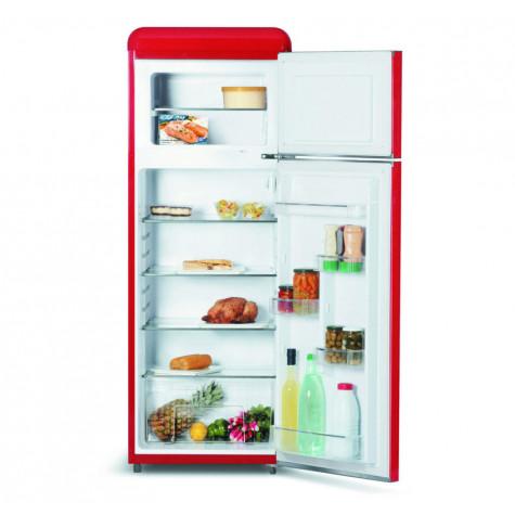 schneider Réfrigérateur combiné 55cm 208l a+ statique rouge schneider
