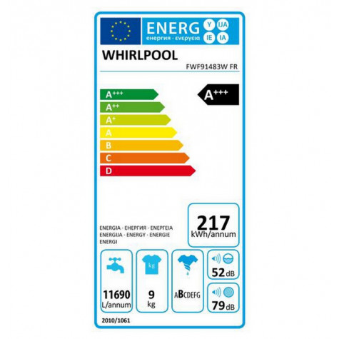 whirlpool Lave-linge frontal 60cm 9kg 1400t a+++ blanc whirlpool